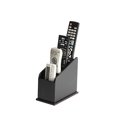 JACKCUBE Design 3 Compartments Black Leather Remote Control Organizer Holder, Controller TV Guide, Media Storage Box - :MK292A