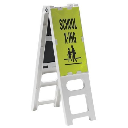 Sign School Crossing - Barricade Sign, Lime/Blk, School Crossing