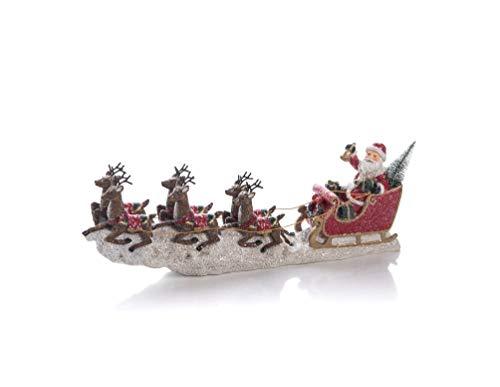 Transpac Imports D2150 Resin Reindeer Santa Sleigh Decor, Multicolor