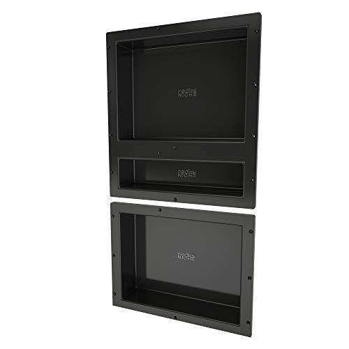 cessed Shower Shelf – Black, Three Shelves, 16-Inch x 34-Inch x 4-Inch ()
