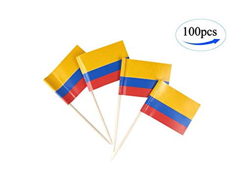 JBCD Colombia Flag Colombian Flags,100 Pcs Cupcake Toppers Flag, Country Toothpick Flag,Small Mini Stick Flags Picks Party Decoration Celebration Cocktail Food Bar Cake Flags -