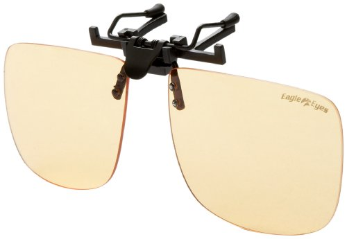 Eagle Eyes StimuLight ClipOn Sunglasses -Universal Larger Square Lense Low-Light Vision - Light Enhancing Sunglasses