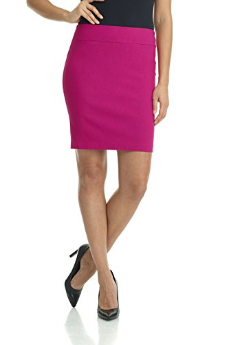 Rekucci Women's Ease Into Comfort Above The Knee Stretch Pencil Skirt 19 inch (Small,Fuchsia)