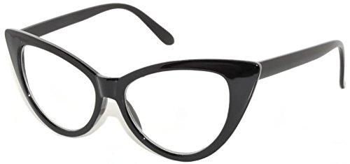 Retro Black Cat Eye Vintage Party Sunglasses Black Frame Clear Lens OWL - Cat Sunglasses Wholesale Eye