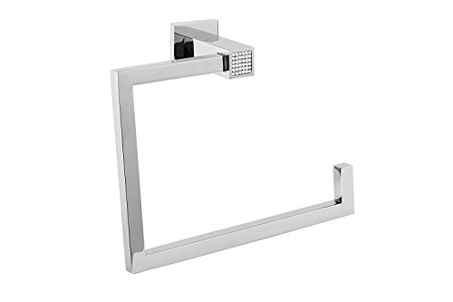 Hispania bath Skip Diamond Wall Bathroom Towel Ring Holder, Swarovski Crystal Diamond, Wall Mount Bathroom Accessories Towel Rack Hanger, Made in Spain (European Brand) (Polished Chrome) - European Towel Ring