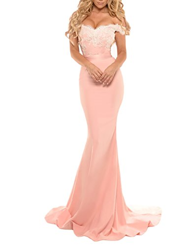 Miao Duo Women's Long Mermaid Off Shoulder Evening Celebrity Dresses Lace Formal Prom Gowns Blush 14