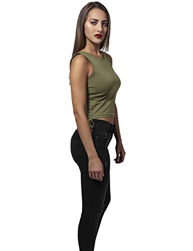 Urban Classics Mujeres Ropa superior / Top Lace Up Cropped Aceituna