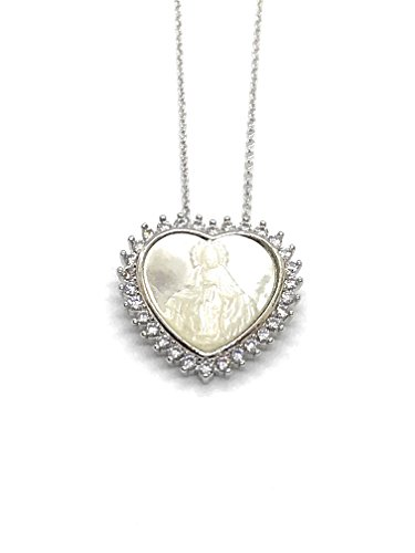 (LESLIE BOULES Milagrosa Heart Mother of Pearl Pendant Silver Plated Necklace 18