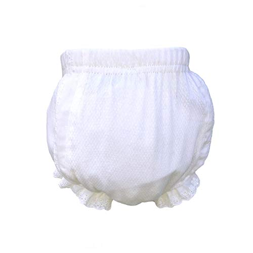 MONOBLANKS White Cotton Lacy Baby Diaper Cover Pants (S, -