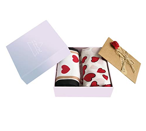 (GERINLY 2 Pack Red Heart Neckerchief for Women Day Gift for Her Love Neck Scarf with Gift Box Card (Red / 2PCS))