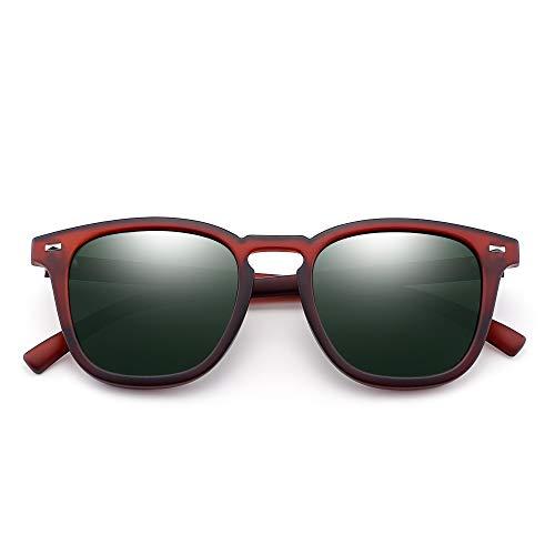 Gafas Hombre de Retro Polarizado Conducir de Sol Verde Rojo Polarizadas Mujer Anteojos Clásico Cuadrado Espejo rxrXvw
