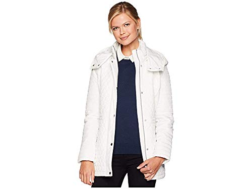 Marc New York by Andrew Marc Women's Rosedelle Honeycomb Mini Quilted Car Coat w/Detach. Hood White - Coat Car Quilted