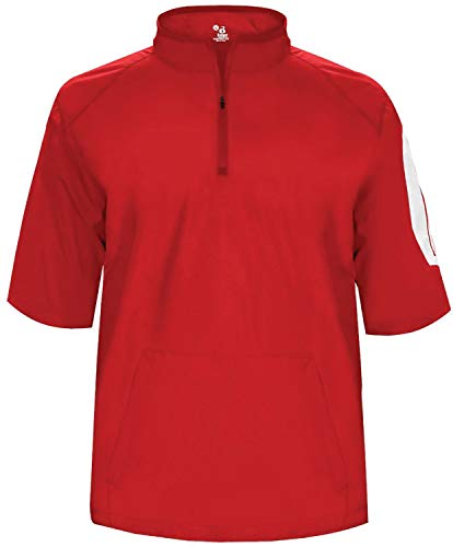 - Badger Men's Sideline Short Sleeve 1/4 Zip Pullover Red/White 2XL