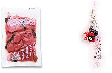 [2点セット] 赤かぶすぐき(160g)・さるぼぼペアビーズストラップ 【ピンク】/縁結び・魔除け//