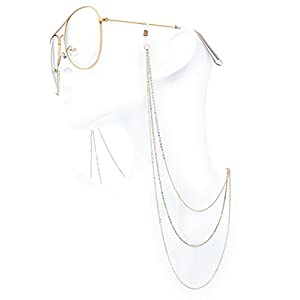 The Fresh Classic Metal Frame AR Coating Clear Lens XL Oversized Aviator Sunglasses and Necklace Eyeglass Chain Holder (4-Rose Glod/Rose Glod Chain-1A, Clear)