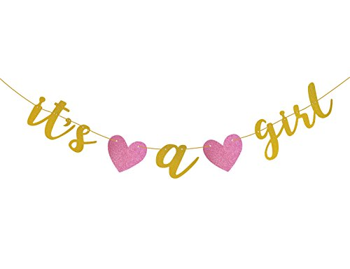 Girl Baby Shower Banner (Famoby Gold Glittery It's a Girl Banner for Baby Shower Party)