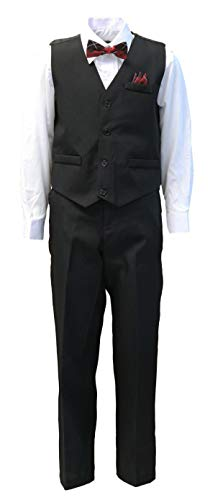 Vittorino Boys 4 Piece Holiday Suit Set with Vest Shirt Tie Pants and Hankerchief, Black/White Red, 16 (Boys 14 16 Vest)