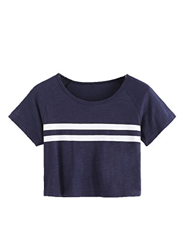 SweatyRocks Women's Summer Casual Short Sleeve Stripe Printed Crop Top Tee Shirt Navy S
