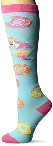 K. Bell Women's Food & Drink Novelty Casual Knee High Socks, Unicorns Love Donuts (Blue), Shoe Size: 4-10