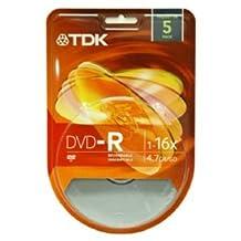 TDK DVD-R4.7GB 16X SILVER MATTE FULL LOGO SURFACE 5 PACK BLISTER