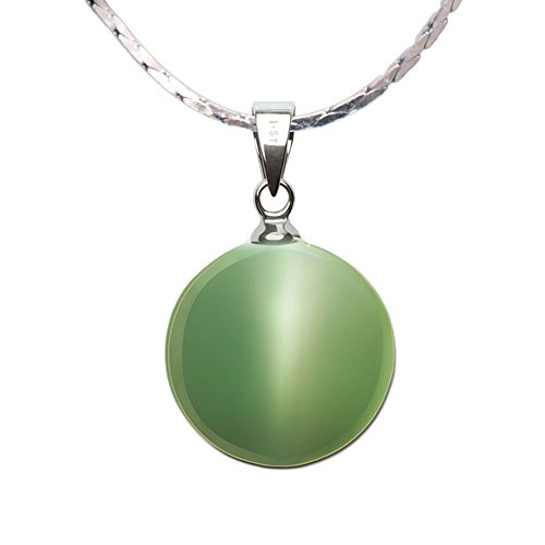iSTONE Natural Gemstone 925 Sterling Silver Cat's Eye Green Pear Shape Pendant Necklace 16'' ()