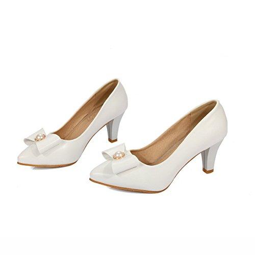 VogueZone009 Damen PU Leder Mittler Absatz Spitz Zehe Rein Ziehen auf Pumps Schuhe Weiß