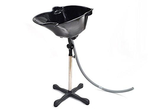 TMS Portable Black Adjustable Height Shampoo Basin Hair Bowl...