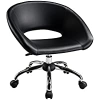 Creative Images International Minimalist Collection PU Leather Height Adjustable Mid-Back Swivel Computer Chair with Gas Lift and Caster Wheels, Black
