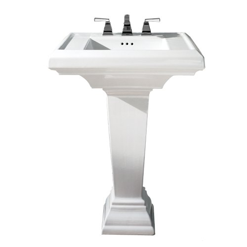 American Standard 0790.800.020 Town Square 24-Inch Pedestal Bathroom Sink with 8-Inch Faucet Spacing, White