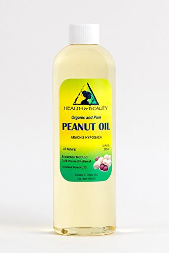 Peanut Oil Refined Organic Carrier Cold Pressed 100% Pure 12 oz