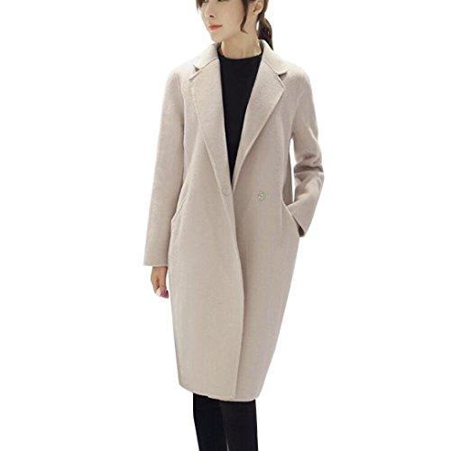 AOJIAN Womens Fashion Jacket Windbreaker Parka Cardigan Outwear Slim Long Coat Overcoat (Beige, (Pocket Trench)