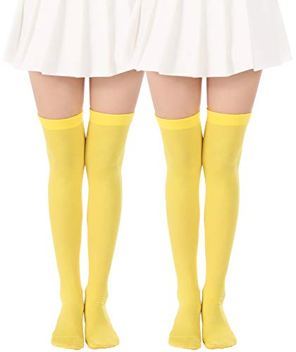 JASMINO Over Knee Long Stockings Solid Thigh High Socks Opaque Costume Stockings Cosplay Knee-High Socks(2 Pairs Yellow Tights)]()