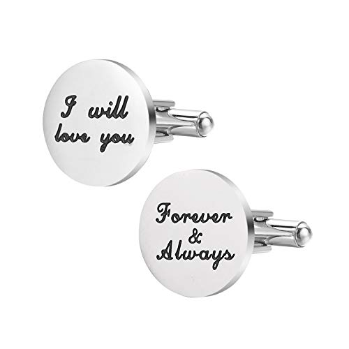 Cufflink will love you,Forever & always Dad Father Tie Bar Mens Wedding Father of The Bride Gifts ()