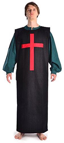 Mittelalter Überwurf schwarz Filz Skapulier mit rotem Kreuz Mittelalterliche Kleidung