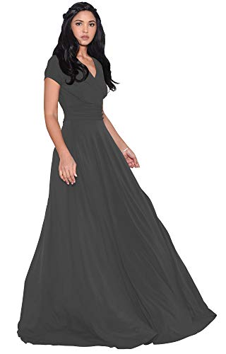 KOH KOH Womens Long Cap Short Sleeve V-Neck Flowy Cocktail Slimming Summer Sexy Casual Formal Sun Sundress Work Cute Gown Gowns Maxi Dress Dresses, Pewter Gray Grey L 12-14 (Long Cocktail Evening)