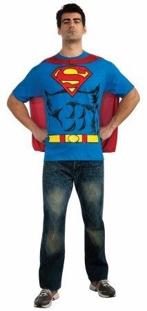 Superman Tshirt Adult Costumes Kit (Rubies 212056 Superman T-Shirt Adult Costume Kit - Blue-Red-Yellow - X-Large)
