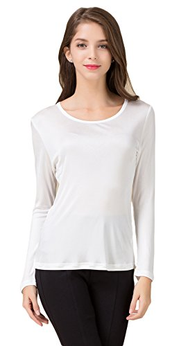 8bfa9235 Womens Mulberry Silk T Shirt Crewneck. Review - CLC Women's Mulberry Silk T-Shirt  Long Sleeve Crewneck Tank Knit Fabric