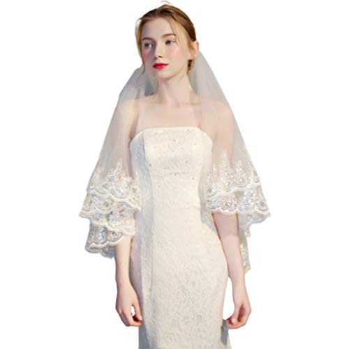 Scalloped Sequin - JAGETRADE Womens Double Layer Fingertip Length Wedding Veil Glitter Sequins Floral Lace Scalloped Trim 2 Tier Photo Bridal Veil with Comb