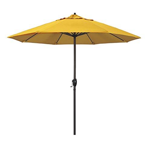 California Umbrella 9' Round Aluminum Market Umbrella, Crank Lift, Auto Tilt, Bronze Pole, Sunbrella Sunflower Yellow