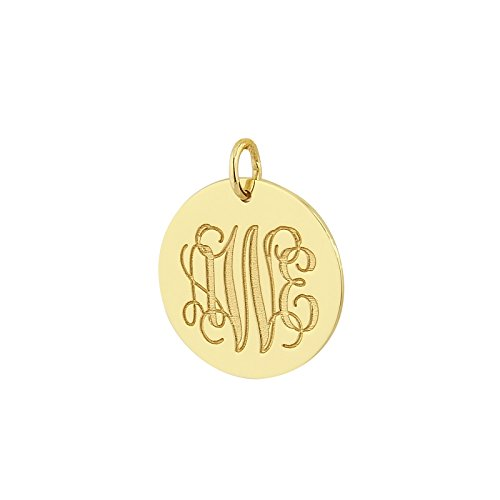 - 3 Initials Monogram 3/4 Inch Disc Charm Pendant Solid 14k Yellow Gold Laser Engraving GC08 (0)