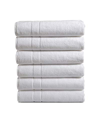 Haven Cotton 100% Turkish Cotton Bath Towel Set – Pack of 6, 30 x 56 Inches, 650 GSM, White