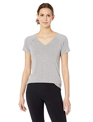 Amazon Essentials Women's Studio Short-Sleeve Lightweight V-Neck T-Shirt, -medium grey heather, X-Large ()