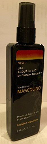 Imposters Fragrance (Mascolino, A Designer Imposters Premium Fragrance Body Spray, 4 FL OZ / 118mL)