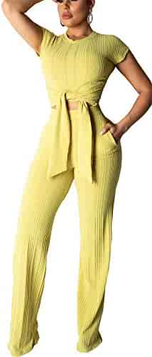 a96e76bf27a Women s Rib Two Piece Sets Short Sleeve Crop Top High Waist Wide Leg Long  Pants with