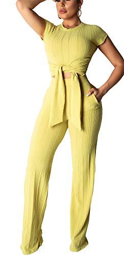 WOKANSE Two Piece Outfits Tracksuit Set Women Solid Tie Crop Top and Pants Jumpsuit - Tie Crop Pants