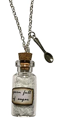 Mary Poppins Spoonful of Sugar Bottle With Spoon Metal Pendant -