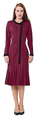 Marycrafts Womens Drop Waist Midi Dress Retro Vintage Flapper 1920s