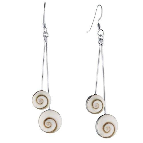 Silverly Women's .925 Sterling Silver White Shiva Eye Dangle Shell Dangle Earrings