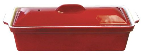 Le Cuistot Enameled Cast-Iron 12 InchTerrine with Cover - Red