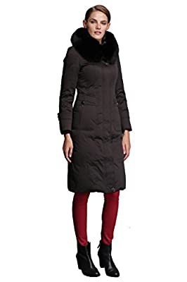Fast Sister Women's Stylish Goose Down Jackets Thickened Down Coats Parka -XS Black